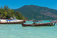 Longtail taxi boats on Sunrise beach, Ko Lipe, Thailand