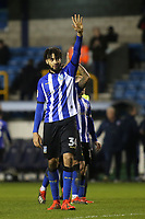 Michael Hector of Sheffield Wednesday, on loan from Chelsea, waves at the away fans after the final whistle during Millwall vs Sheffield Wednesday, Sky Bet EFL Championship Football at The Den on 12th February 2019