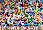 David Moran, Kerry in action against Tommy Moolick, Kildare in the All Ireland Quarter Final at Croke Park on Sunday.