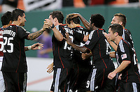 DC United defender Carrey Talley (3) celebrates with team mates after scoring on a penalty kick in the 92th minute of the game.   DC United defeated Chivas USA 3-2 at RFK Stadium, Saturday  May 29, 2010.