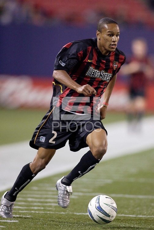 The MetroStars' Ricardo Clark. The Columbus Crew and the MetroStars played to a 1-1 tie in regular season MLS action on Saturday October 9, 2004 at Giant's Stadium, East Rutherford, NJ..