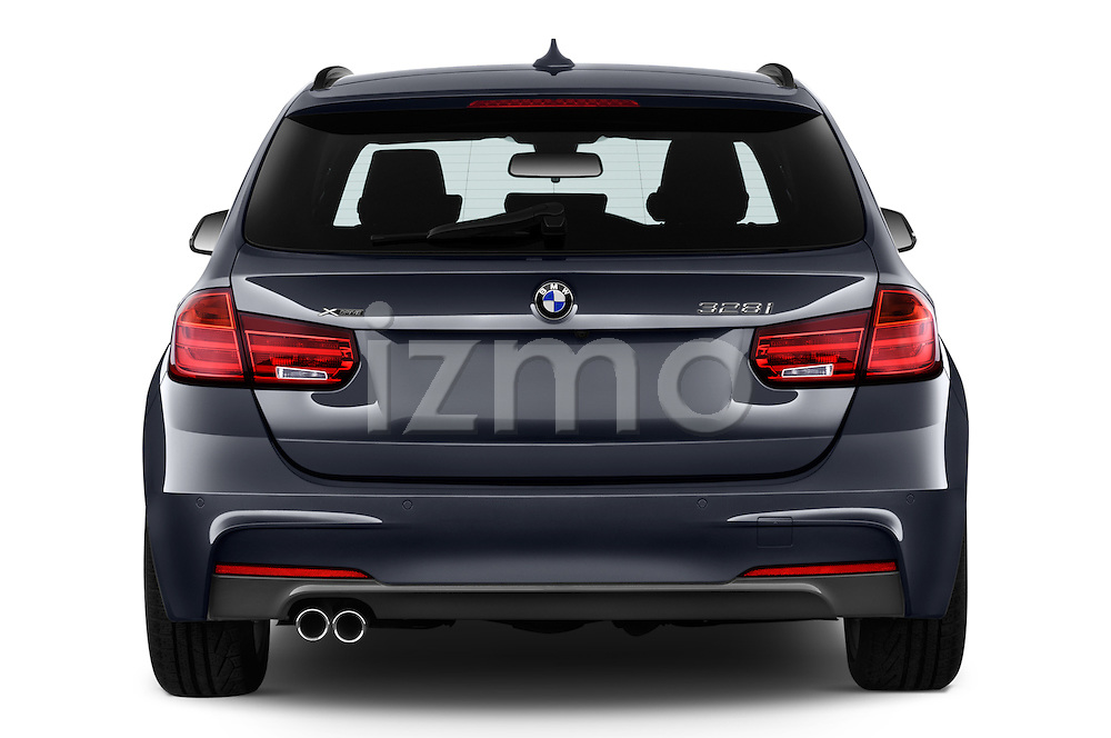 Straight rear view of 2015 BMW 3 Series 328d xDrive Sports Wagon 5 Door Wagon Rear View  stock images