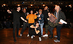 "Robert Walters, James Monroe Iglehart, Sasha Hollinger, Thayne Jasperson, Terrance Spencer, Sean Green Jr., Gabriella Sorrentino and Gregory Treco during The Rockefeller Foundation and The Gilder Lehrman Institute of American History sponsored High School student #eduHam matinee performance of ""Hamilton"" Q & A at the Richard Rodgers Theatre on November 28, 2018 in New York City."