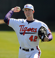 Clemson RHP John Thrailkill (42) prior to a game between the Charlotte 49ers and Clemson Tigers Feb. 22, 2009, at Doug Kingsmore Stadium in Clemson, S.C. (Photo by: Tom Priddy/Four Seam Images)