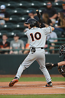 Adam Hall (10) of the Delmarva Shorebirds at bat during game one of the Northern Division, South Atlantic League Playoffs against the Hickory Crawdads at L.P. Frans Stadium on September 4, 2019 in Hickory, North Carolina. The Crawdads defeated the Shorebirds 4-3 to take a 1-0 lead in the series. (Tracy Proffitt/Four Seam Images)