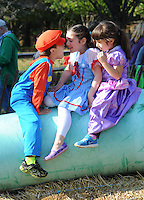 MORRISVILLE, PA - OCTOBER 25: From left, Ajdin Hadzovic, 6, clowns around with Addison Rohrer, 5, and Madison Luguski, 5, all of Yardley, Pennsylvania during  Healthy Families Weekend at Snipes Farm and Education Center October 25, 2014 in Morrisville, Pennsylvania. The event runs through Sunday. (Photo by William Thomas Cain/Cain Images)