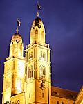 Zurich Great Church (Grossmunster) <br /> Originally founded by the Holy Roman Emperor Charlemagne, this Romanesque and Gothic cathedral has twin three story towers, which are one of the Zurich's premier