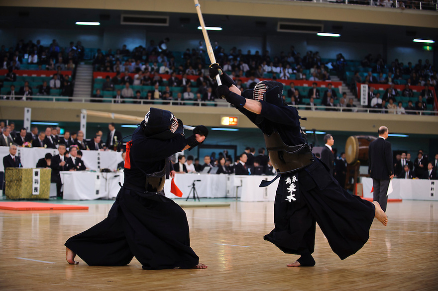Contestants at the 59th All Kendo Championship,  Budokan, Tokyo, Japan, November 3, 2011. Contestants from all over Japan compete doing the day-long event. Kendo is a popular martial art based on traditional Japanese swordsmanship.