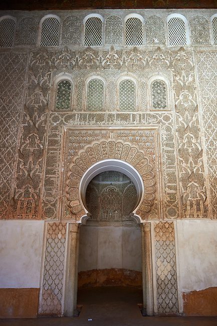Berber arabesque Morcabe plasterwork of the 14th century Ben Youssef Madersa (Islamic college) re-constructed by the Saadian Sultan Abdallah al-Ghalib in 1564 as the largest and most prestigious Medersa in Morocco. Marrakesh, Morroco