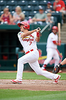 Springfield Cardinals shortstop Alex Mejia (7) follows through on a swing during a game against the San Antonio Missions on June 4, 2017 at Hammons Field in Springfield, Missouri.  San Antonio defeated Springfield 6-1.  (Mike Janes/Four Seam Images)
