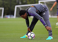 Leroy Fer stretches during the Swansea City FC Training at Fairwood Training Ground on September 8, 2016 in Swansea, Wales.