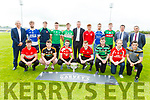 Attending the launch of the Garvey Senior Football Championship on Monday. Front l to r: Patrick O'Connor (Dingle), Conor Jordan (Austin Stacks), Brendan O'Keeffe (Rathmore), Kevin Price (Kenmare Shamrocks), Niall Sheehy (St Brendans), Eamon Hickson (West Kerry) and Brian Looney (Dr Crokes).<br /> Standing l to r: Kevin McCarthy (Garveys),  Darragh O'Shea (Shannon Rangers), Damien O'Leary (Kilcummin), Eddie Horan (St Kierans), Damien O'Sullivan (Killarney Legion), Tim Murphy (Chairman Kerry GAA), Brian Lenihan (East Kerry), Ross O'Callaghan (Kerins O'Rahillys), Callum Tehan (Mid Kerry), Jim Garvey and Seamus O'Connor of Garveys.
