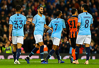Manchester City's Riyad Mahrez celebrates scoring his side's fifth goal with Gabriel Jesus and Ilkay Gundogan<br /> <br /> Photographer Alex Dodd/CameraSport<br /> <br /> UEFA Champions League Group F - Manchester City v Shakhtar Donetsk - Wednesday 7th November 2018 - City of Manchester Stadium - Manchester<br />  <br /> World Copyright © 2018 CameraSport. All rights reserved. 43 Linden Ave. Countesthorpe. Leicester. England. LE8 5PG - Tel: +44 (0) 116 277 4147 - admin@camerasport.com - www.camerasport.com