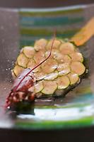 Europe/France/Bretagne/22/Côtes d'Armor/Paimpol: Carpaccio de homard aux courgettes  recette de Vincent Prémorvan Restaurant La Cotriade