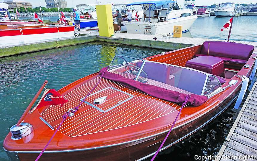 The 4th annual Vinatge Boat rally held at Sarnia bay Marina. Jeff Horley, owner of Would...Aye. Roy Kennedy owner of 30 foot 1961 Chris Craft Sea Skiff.