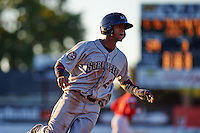 Mahoning Valley Scrappers second baseman Willi Castro (2) running the bases during a game against the Batavia Muckdogs on June 23, 2015 at Dwyer Stadium in Batavia, New York.  Mahoning Valley defeated Batavia 11-2.  (Mike Janes/Four Seam Images)