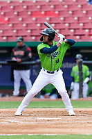 Kane County Cougars second baseman Eddie Hernandez (14) during a Midwest League game against the Cedar Rapids Kernels at Northwestern Medicine Field on April 28, 2019 in Geneva, Illinois. Cedar Rapids defeated Kane County 3-2 in game two of a doubleheader. (Zachary Lucy/Four Seam Images)