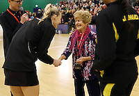 14.09.2016 Action during the Taini Jamison netball match between the Silver Ferns and Jamaica played at Arena Manawatu in Palmerston North. Mandatory Photo Credit ©Michael Bradley.