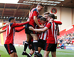Jordan Halalm of Sheffield Utd is mobbed after scoring the winning goal during the Professional Development League play-off final match at Bramall Lane Stadium, Sheffield. Picture date: May 10th 2017. Pic credit should read: Simon Bellis/Sportimage