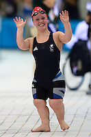 PICTURE BY ALEX BROADWAY /SWPIX.COM - 2012 London Paralympic Games - Day Three - Swimming - Aquatics Centre, Olympic Park, London, England - 01/09/12 - Eleanor Simmonds of Great Britain reacts after winning the Women's 400m Freestyle S6 Final.