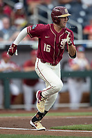 Florida State Seminoles shortstop Mike Salvatore (16) runs to first base during Game 2 of the NCAA College World Series against the Arkansas Razorbacks on June 15, 2019 at TD Ameritrade Park in Omaha, Nebraska. Florida State defeated Arkansas 1-0. (Andrew Woolley/Four Seam Images)