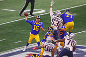3rd February 2019, Atlanta Georgia, USA; NFL Superbowl LIII, New England Patriots versus Los Angeles Rams;   Los Angeles Rams quarterback Jared Goff (16) is pressured by New England Patriots middle linebacker Kyle Van Noy (53) during Super Bowl LIII