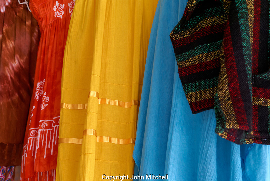 Colorful women's dresses and skirts for sale in in the Mercado Pino Suarez Market,  Mazatlan, Sinaloa, Mexico