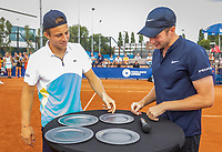 Amstelveen, Netherlands, 1 August 2020, NTC, National Tennis Center, National Tennis Championships, Men's Doubles final: The runners up Tallon Griekspoor (NED) (L) and Botic van de Zandschulp (NED) have to pick up their trophy themselfs because of Covid-19.<br /> Photo: Henk Koster/tennisimages.com