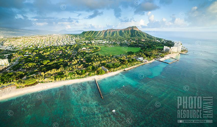 An aerial view of Waikiki, Kapi'olani Park, Kaimuki, Diamond Head and the Gold Coast after heavy rain, with Koko Head and Crater in the distance, O'ahu.