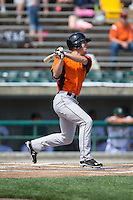 Drew Dosch (28) of the Frederick Keys follows through on his swing against the Lynchburg Hillcats at Calvin Falwell Field at Lynchburg City Stadium on May 14, 2015 in Lynchburg, Virginia.  The Hillcats defeated the Keys 6-3.  (Brian Westerholt/Four Seam Images)