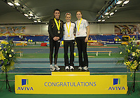 Photo: Tony Oudot/Richard Lane Photography. Aviva World Trials & UK Championships. 14/02/2010. .Womens 800m. .L to R: Vicky Griffiths (silver), Jenny Meadows (Gold), and Danielle Christmas (bronze).