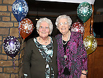 Ettie Rogers for Clonmore Togher celebrating her 90th birthday in the Glyde Inn Annagasan with her sister Sarah Kieran. Photo: Colin Bell/pressphotos.ie