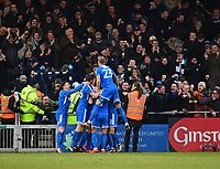 Notts County's Jonathan Stead (hidden) celebrates scoring the opening goal with team-mates<br /> <br /> Photographer Chris Vaughan/CameraSport<br /> <br /> The EFL Sky Bet League Two - Lincoln City v Notts County - Saturday 13th January 2018 - Sincil Bank - Lincoln<br /> <br /> World Copyright &copy; 2018 CameraSport. All rights reserved. 43 Linden Ave. Countesthorpe. Leicester. England. LE8 5PG - Tel: +44 (0) 116 277 4147 - admin@camerasport.com - www.camerasport.com