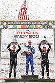Robert Wickens, Schmidt Peterson Motorsports Honda, Alexander Rossi, Andretti Autosport Honda, Will Power, Team Penske Chevrolet, podium