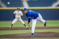 Indiana State Sycamores pitcher Max Klein (38) delivers a pitch to the plate against the Michigan Wolverines on April 10, 2019 in the NCAA baseball game at Ray Fisher Stadium in Ann Arbor, Michigan. Michigan defeated Indiana State 6-4. (Andrew Woolley/Four Seam Images)