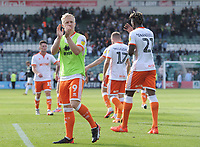 Blackpool's Mark Cullen applauds fans at full time<br /> <br /> Photographer Kevin Barnes/CameraSport<br /> <br /> The EFL Sky Bet League One - Plymouth Argyle v Blackpool - Saturday 15th September 2018 - Home Park - Plymouth<br /> <br /> World Copyright &copy; 2018 CameraSport. All rights reserved. 43 Linden Ave. Countesthorpe. Leicester. England. LE8 5PG - Tel: +44 (0) 116 277 4147 - admin@camerasport.com - www.camerasport.com