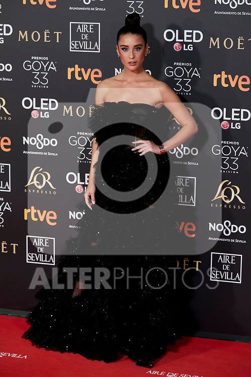 Maria Pedraza attends to 33rd Goya Awards at Fibes - Conference and Exhibition  in Seville, Spain. February 02, 2019. (ALTERPHOTOS/A. Perez Meca)