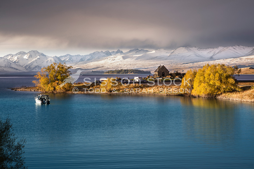 Autumn sunset on the Church of The Good Shepherd, Lake Tekapo, South Canterbury New Zealand.