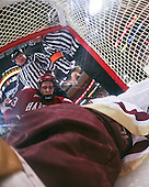 Matt McCollem (Harvard 23) exits the net leaving John Muse (BC 1) its only occupant. The Boston College Eagles defeated the Harvard University Crimson 6-5 in overtime on Monday, February 11, 2008, to win the 2008 Beanpot at the TD Banknorth Garden in Boston, Massachusetts.