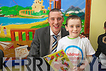 SMILES: Keith O'Leary from Kilcummin meets his hero, Kieran Donaghy, during the Children in Hospital roadshow visit to Kerry General Hospital on Wednesday.