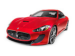 2015 Red Maserati GranTurismo MC Centennial Edition luxury car. Isolated on white background with clipping path.