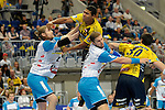 GER - Mannheim, Germany, September 23: During the DKB Handball Bundesliga match between Rhein-Neckar Loewen (yellow) and TVB 1898 Stuttgart (white) on September 23, 2015 at SAP Arena in Mannheim, Germany. Final score 31-20 (19-8) .  Mads Mensah Larsen #22 of Rhein-Neckar Loewen, Tobias Schimmelbauer #2 of TVB 1898 Stuttgart, Teo Coric #13 of TVB 1898 Stuttgart<br /> <br /> Foto &copy; PIX-Sportfotos *** Foto ist honorarpflichtig! *** Auf Anfrage in hoeherer Qualitaet/Aufloesung. Belegexemplar erbeten. Veroeffentlichung ausschliesslich fuer journalistisch-publizistische Zwecke. For editorial use only.