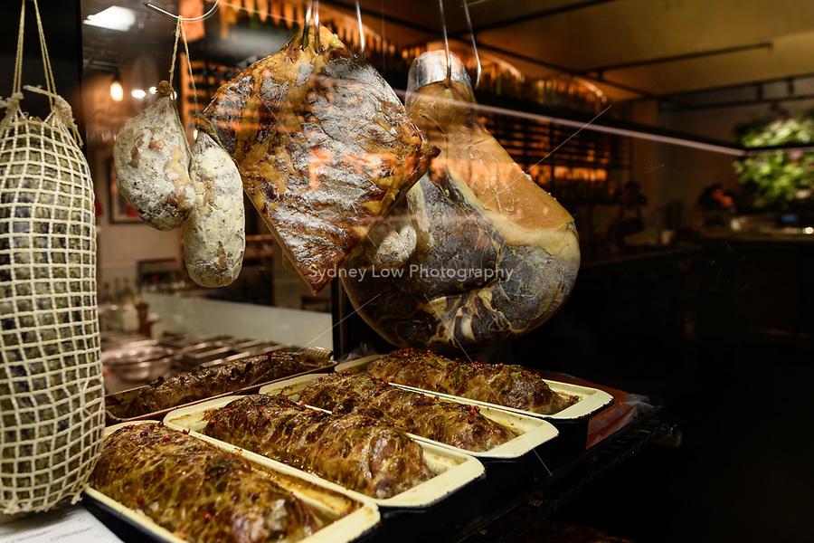 Melbourne, May 19 2018 - A display of cured meats and terrines at Philippe Restaurant in Melbourne, Australia. Photo Sydney Low