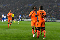 Liverpool's Sadio Mane celebrates scoring his side's third goal with team mate Mohamed Salah <br /> <br /> Photographer Craig Mercer/CameraSport<br /> <br /> UEFA Champions League Round of 16 First Leg - FC Porto v Liverpool - Wednesday 14th February 201 - Estadio do Dragao - Porto<br />  <br /> World Copyright &copy; 2018 CameraSport. All rights reserved. 43 Linden Ave. Countesthorpe. Leicester. England. LE8 5PG - Tel: +44 (0) 116 277 4147 - admin@camerasport.com - www.camerasport.com