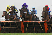 Cuckoo Pen ridden by Mattie Batchelor (C) leads during the the Berry Bros & Rudd National Hunt Novices Hurdle - Horse Racing at Newbury Racecourse, Berkshire