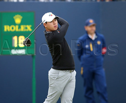 20th July 2017, Royal Birkdale Golf Club, Southport, England; The 146th Open Golf Championship ; First round ; Si-Woo Kim (KOR) follows his shot from the tee of the first hole during the opening round of the Open Championship