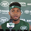 Jamal Adams #33 of the New York Jets speaks with the media after a day of training camp at the Atlantic Health Jets Training Center in Florham Park, NJ on Friday, Aug. 4, 2017.