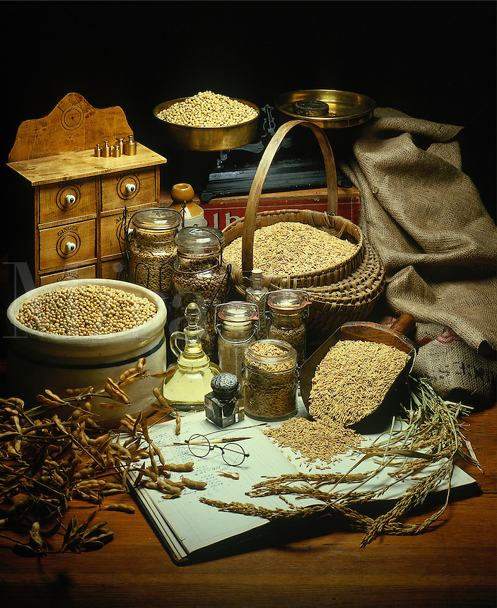 Still life with wheat, rice and soybeans in setting with antique items.