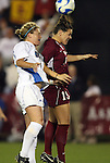 07 December 2007: USC's Megan Ohai (19) and UCLA's Kylie Wright (l) challenge for a header. The University of Southern California Trojans defeated the University of California Los Angeles Bruins 2-1 at the Aggie Soccer Stadium in College Station, Texas in a NCAA Division I Womens College Cup semifinal game.