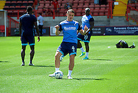 Stephen McGinn of Wycombe Wanderers warming up before the Sky Bet League 2 match between Crawley Town and Wycombe Wanderers at Broadfield Stadium, Crawley, England on 6 August 2016. Photo by Alan  Stanford / PRiME Media Images.